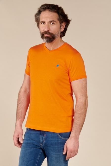 T-shirt Jules col V tangerine