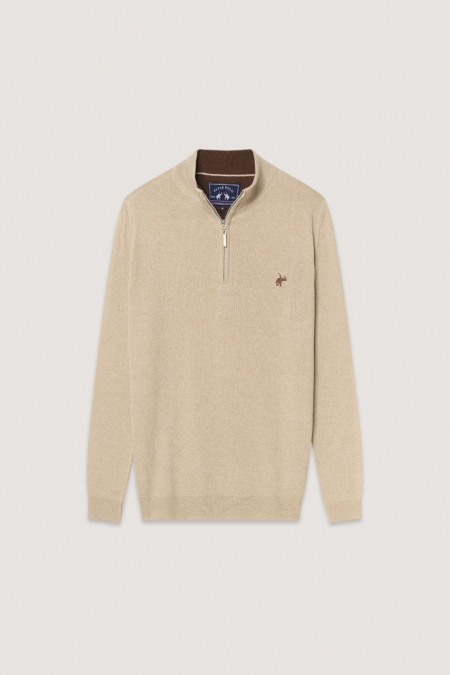 Pull col montant Billy beige