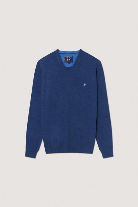 Pull col V Basil bleu jean