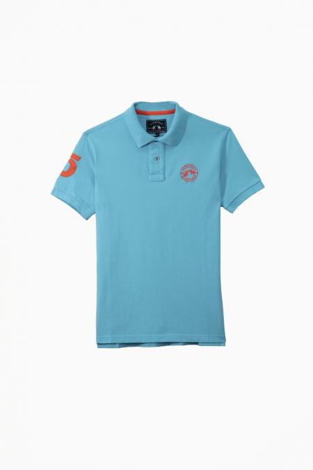 Polo Flag coton turquoise