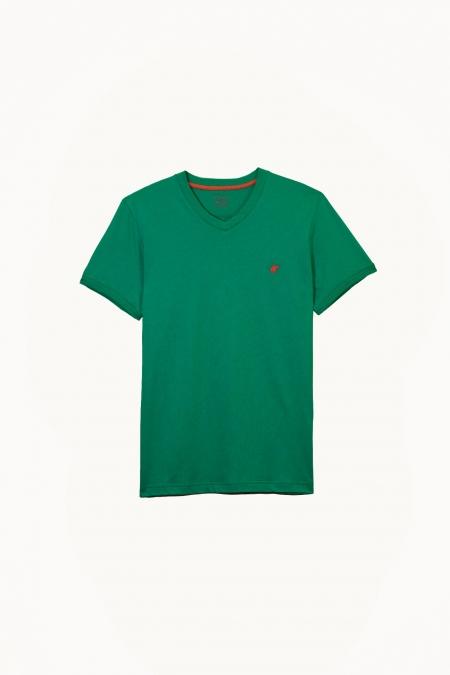 T-shirt Jules col V deep green