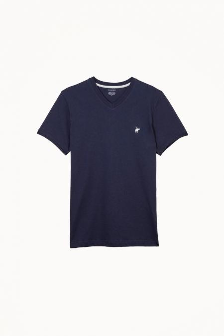 T-shirt Jules col V marine