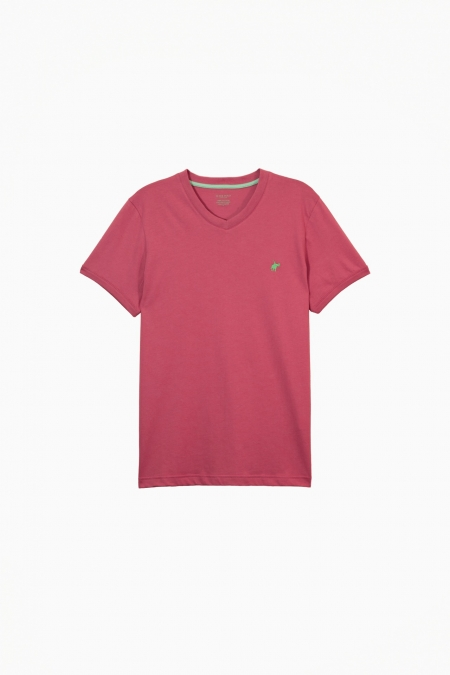 T-shirt Jules col V raspberry