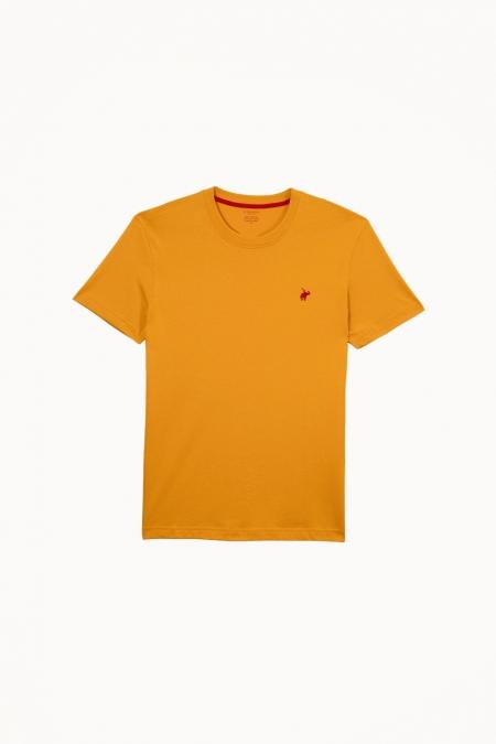 T-shirt New Basic col rond curcuma