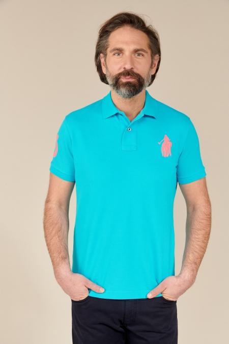 Polo Frienka coton turquoise