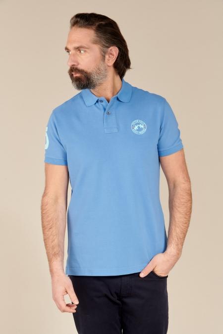 Polo Flag coton bleuet