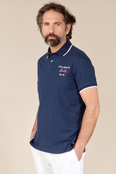 Polo Yacht jersey coton marine