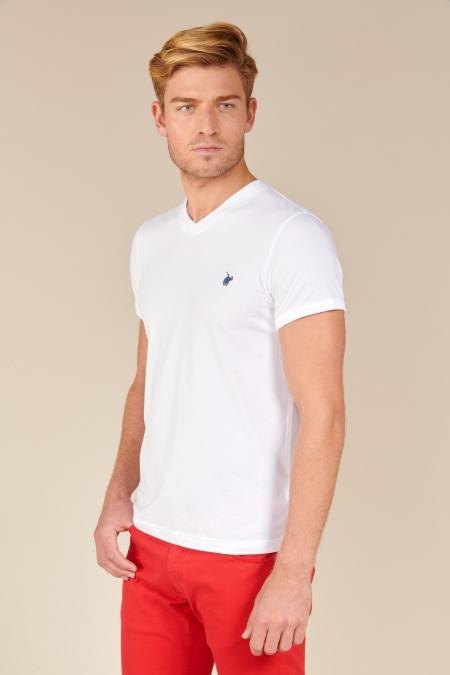 T-shirt Jules col V blanc