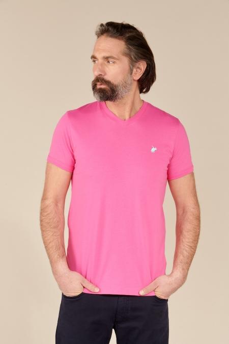 T-shirt Jules col V fushia