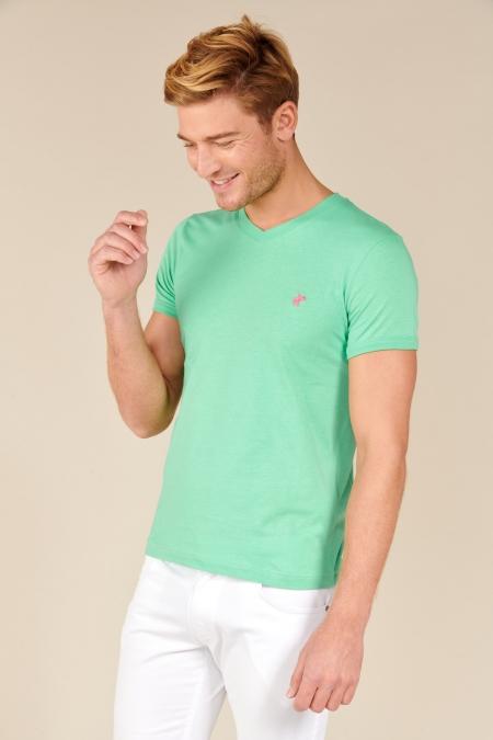 T-shirt Jules col V jade