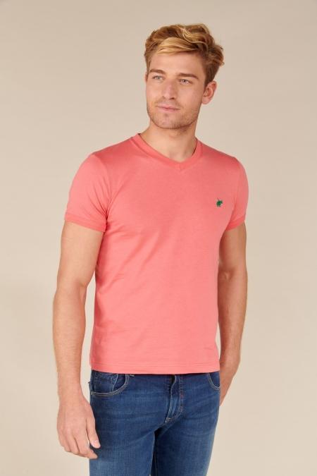 T-shirt Jules col V rose indien