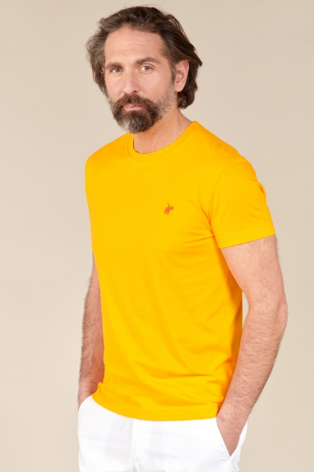 T-shirt New Basic col rond safran