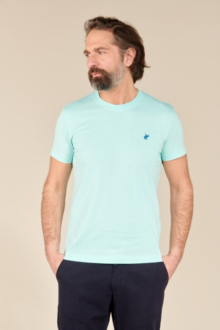 T-shirt New Basic col rond acqua